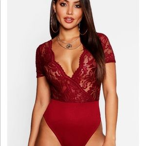 Red lace bodysuit boohoo